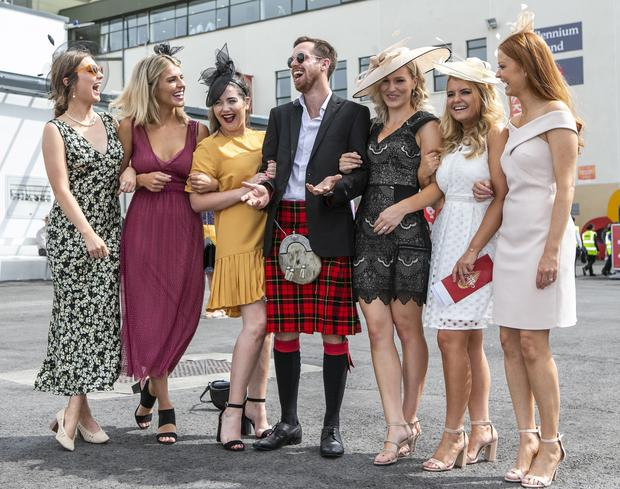 Angus Mackintosh from Scotland with local ladies Aoife Moran, Courtney Cox, Megan Gill, Alex Walsh, Mia Stewart and Jacqueline Taylor pictured at the Galway Races in Ballybrit.