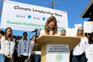 Making a stand: Campaigner Emily Cunningham addresses an Amazon Employees for Climate Justice event