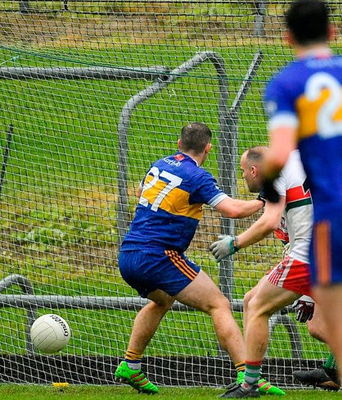 Joey Wallace watches the ball going into the net for Ratoath's winning goal in the last minute of the Meath SFC Final against Gaeil Colmcille at Páirc Táilteann in Navan. Photo: Sportsfile
