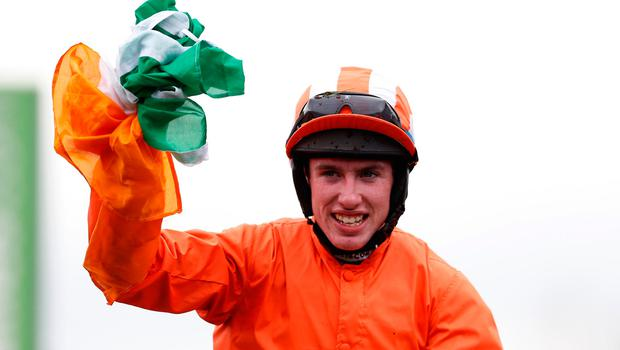 Jack Kennedy celebrates winning the 1.30 Sky Bet Supreme Novices' Hurdle on Labaik