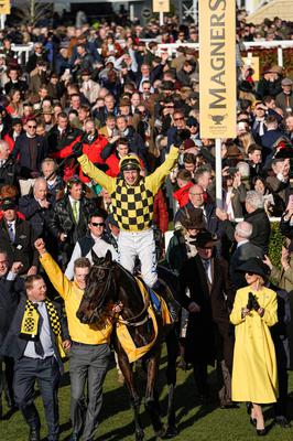 Paul Townend riding Al Boum is led into the winners enclosure surrounded by punters after winning The Magners Cheltenham Gold Cup Chase on Gold Cup day at Cheltenham. Photo by Alan Crowhurst/Getty Images