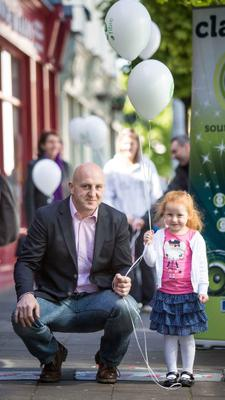 "Irish Rugby legend Keith Wood officially ""switches on"" eFibre Broadband in Ennis Co Clare today. He is pictured with young Serena Price, Ennis at the Co Clare launch."