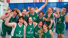 The Team Ireland squad, back row left to right: Linda McGowan, Sarah Byrne, Laura Reynolds, Michelle Stynes, Laura Mangan and Nichola Farrell; front row, left to right: Clare Nolan, Megan Reynolds, Ann Marie Cooney and Amy Duffy, who won the gold medal in the Basketball Team Division F.02 final.