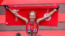 Paula Radcliffe celebrating completing the 2015 Virgin Money London Marathon