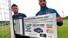 Daryl Murphy and David McGoldrick at the launch of the Irish Football National Draw, helping clubs and leagues raise additional funding to run grassroots football