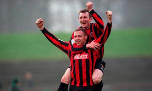 Glen Crowe celebrates after scoring the sixth goal for Bohemians with team-mate Trevor Molloy after their famous 2001 victory over Shamrock Rovers. Photo: David Maher/SPORTSFILE