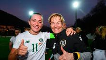 Republic of Ireland manager Vera Pauw, right, and Republic of Ireland captain Katie McCabe celebrate their win following the UEFA Women's 2021 European Championships Qualifier match against Montenegro. Photo by Stephen McCarthy/Sportsfile