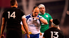 Malakai Fekitoa of New Zealand is shown a yellow card by referee Jaco Peyper during the Autumn International match between Ireland and New Zealand at the Aviva Stadium. Photo: Stephen McCarthy/Sportsfile