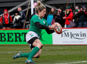 Ireland's Alison Miller goes over to score a try late in the game