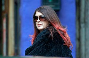 Joely Fisher, the half-sister to Carrie Fisher, arrives and at a memorial service at the homes of Debbie Reynolds and Carrie Fisher in Los Angeles. Photo: AP