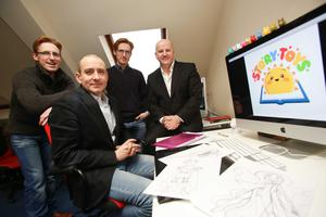 21/01/2013 : Pictured (l-r) Aidan Doolan - co-founder, Story Toys, Barry O'Neill, CEO, Story Toys, Kevin Doolan, co-founder, Story Toys with Sean Gallagher, Sunday Independent. Picture Conor McCabe.