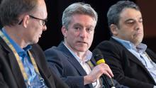Ryanair's chief financial officer Neil Sorahan at the Global Airfinance conference in Dublin's Convention Centre. Mr Sorahan says the airline will hold off on UK decisions for now. Photo Mark Harrison