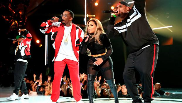 LOS ANGELES, CA - JUNE 28:  (L-R) Recording artists Sean 'Diddy' Combs, Lil' Kim and Sheek Louch of The Lox perform onstage during the 2015 BET Awards at the Microsoft Theater on June 28, 2015 in Los Angeles, California.  (Photo by Christopher Polk/BET/Getty Images for BET)