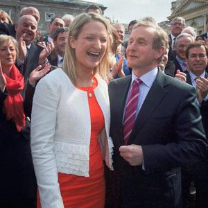 FINE WELCOME: New TD Helen McEntee at Leinster House with Enda Kenny and her Fine Gael parliamentary colleagues