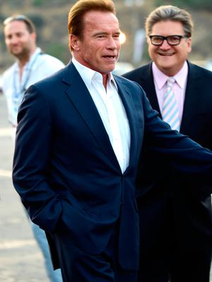 Arnold Schwarzenegger arrive at the Los Angeles Dodgers Foundation Blue Diamond Gala  at Dodger Stadium on July 28, 2016 in Los Angeles, California.  (Photo by Frazer Harrison/Getty Images)