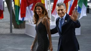 Argentinian President Mauricio Macri and First Lady Juliana Awada arrive to attend a concert at the Elbphilharmonie philharmonic concert hall on the first day of the G20 economic summit on July 7, 2017 in Hamburg, Germany