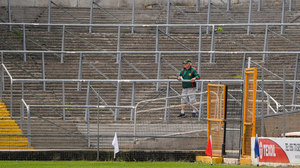 GAME WITHOUT THE CROWD: Former Kilkenny and James Stephens player Phil 'Fan' Larkin looks on during the Kilkenny County Senior Hurling League Group A match between James Stephens and Danesfort at UPMC Nowlan Park in Kilkenny. GAA matches continue to take place in front of a limited audience. Photo: Matt Browne/Sportsfile