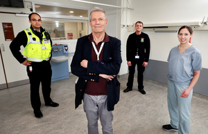 Prof. Jack Lambert, Professor of Medicine and Infectious Diseases at the Mater, Rotunda and UCD (centre) with from left, Zachary, Security Manager, Ken A. Byrne, Porter and Róisin McCourt Acting CNM2 (Clinical Nurse Manager) Staff Development Facilitator at the Mater Hospital. Photo by Steve Humphreys