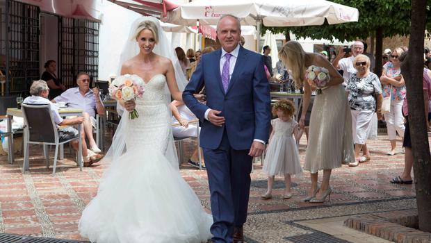 Pics show the wedding of Irish rugby union player Peter Stringer and Deborah O'Leary. Peter, who plays at scrum-half for Sale and Ireland, married his sweetheart today at 1pm at Nuestra Senora de la Encarnacion at the Plaza de la Iglesia, in the old town of Marbella.=
