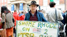 Battling on: Tom Roche, from Rhode, Offaly, takes part in the Raise the Roof housing rally. Photo: Caroline Quinn