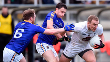 Kildare's Tommy Moolick in action against Darren Gallagher and Padraig McCormack of Longford. Photo: Matt Browne/Sportsfile