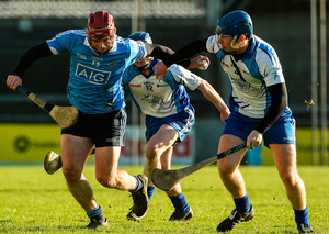Dublin's Canice Maher in action against John Bellew of Dubs Stars during the Hurling Challenge game at Parnell Park in Dublin. Photo: David Maher/Sportsfile