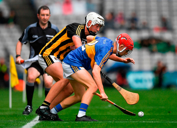 Conor O'Dwyer of Tipperary in action against Cathal O'Leary of Kilkenny. Photo by Ray McManus/Sportsfile