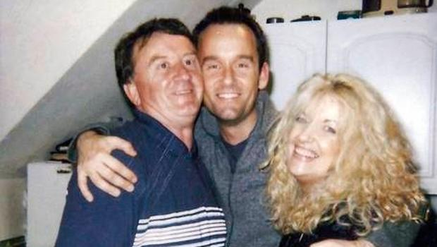 Brendan with his dad, Frank, and his mum, Nuala, on his 21st birthday.