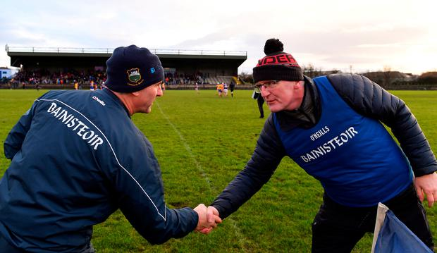 Tipperary manager Liam Sheedy, left, and Clare manager Brian Lohan shake hands after the Co-op Superstores Munster Hurling League 2020 Group A match in Nenagh, Tipperary. Photo by Piaras Ó Mídheach/Sportsfile