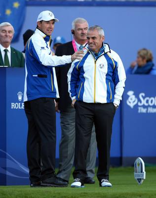 Europe's captain Paul McGinley (right) and vice captain Padraig Harrington during the Fourball matches on day one of the 40th Ryder Cup at Gleneagles Golf Course, Perthshire. PRESS ASSOCIATION Photo. Picture date: Friday September 26, 2014. Photo credit should read: Andrew Milligan/PA Wire. RESTRICTIONS: Use subject to restrictions. Editorial use only. No commercial use. Call +44 (0)1158 447447 for further information.