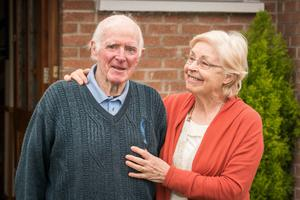 Recovered Billy Waldron back at home, much to the joy of wife Agnes. Photo: Keith Heneghan
