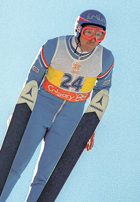 Former English ski jumper Michael Edwards, known as 'Eddie The Eagle', in action at the 1988 Winter Olympics in Calgary, Canada. Photo: Getty Images