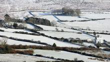 Snowy scenes in the Cooley Mountains in County Louth, as temperatures drop across Ireland. Photo: Niall Carson/PA Wire