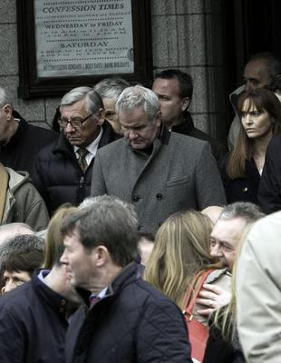 Rugby pundit Brent Pope during the funeral mass of Cathal Sweeney at the Church of St. Paul of the Cross, Mount Argus, Dublin. Photo: Gareth Chaney Collins