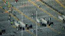 The clean-up operation underway at Croke Park after last night's semi-final replay to get the stadium ready for today's All-Ireland hurling final
