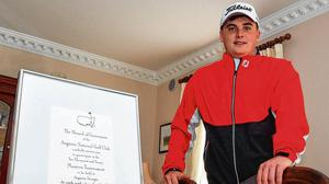 Amateur golf champion James Sugrue with his invitation to the 2020 Masters in Augusta National at home in Mallow. Photo: Eóin Noonan/Sportsfile