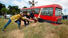 FAO DAVID CONACHY : Pictured (l-r) was festival goers Muirean Lyons from Dublin, Aisling O'Donoghue from Galway, Maeve O'Farrell and Siohban O'Shea from Dublin and Brid Murphy from Cork at Electric Picnic, Stradbally, Co Laois. Picture Conor McCabe.