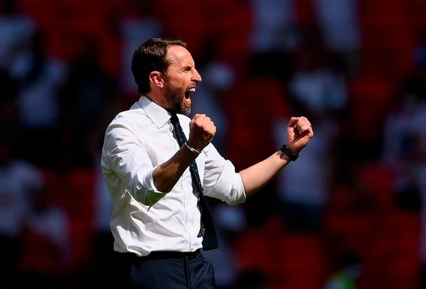 Gareth Southgate celebrates after victory in the UEFA Euro 2020 Championship Group D match against Croatia. (Photo by Laurence Griffiths/Getty Images)