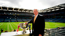 RTÉ Sunday Game presenter Michael Lyster with the Sam Maguire Cup ahead of the GAA Football All-Ireland Senior Championship Final match between Dublin and Tyrone at Croke Park in Dublin. Photo by Eóin Noonan/Sportsfile