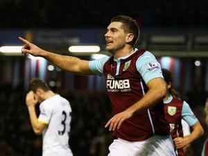 Sam Vokes of Burnley celebrates scoring the equalising goal during the FA Cup Third Round match between Burnley and Tottenham Hotspur at Turf Moor