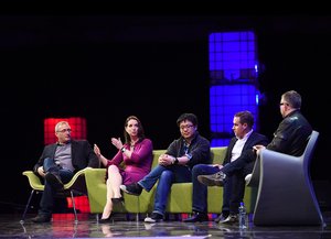 L-R: Noam Bardin (Waze), , Maelle Gavet (Ozon), Junyu Wang (Wandoujia), Roger Egan (RedMart) with Mike Butcher (TechCrunch) at the Web Summit