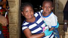 Ebola orphans Martina koroma (7) and her brother Martin (3) in the Ben Hirsch childrens facility supported by GOAL in Kenema Sierra Leone. Pic:Mark Condren