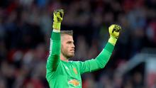 Manchester United's David de Gea celebrates at the final whistle