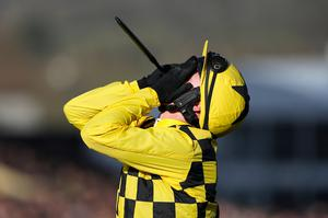 PA via Reuters Jockey Paul Townend celebrates winning the Magners Cheltenham Gold Cup Chase with Al Boum Photo during day four of the Cheltenham Festival at Cheltenham Racecourse.
