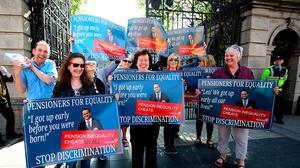 Pensioners protest over the systemic inequality in the contributory pension and homemaker scheme at Leinster House Photo: Tom Burke