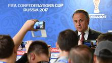 Vitaly Mutko, Russian Deputy Prime Minister talks to the media after the opening press conference at the Zenit Arena on June 16, 2017 in Saint Petersburg, Russia.  (Photo by Stuart Franklin - FIFA/FIFA via Getty Images)