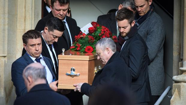 The funeral of RTÉ journalist and broadcaster Keelin Shanley at St Paul's Church in Glenageary. Photo: Mark Condren