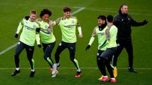 Manchester City's Kevin De Bruyne (left), Leroy Sane (second left) and John Stones (centre) during the training session at the City Football Academy, Manchester. Premier League clubs have voted unanimously to resume contact training, the governing body has announced. Martin Rickett/PA Wire.