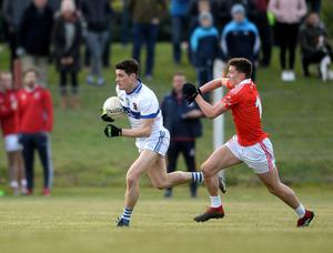 NEW ROLE: St Vincent's Diarmuid Connolly bursts away from St Brigid's Mark Donnelly during Dublin SFC Group 4 match at Lawless Park, Swords. Picture: Caroline Quinn