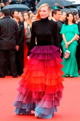 """Australian actress and President of the Jury Cate Blanchett arrives on May 14, 2018 for the screening of the film """"BlacKkKlansman"""" at the 71st edition of the Cannes Film Festival in Cannes, southern France.  / AFP PHOTO / Valery HACHEVALERY HACHE/AFP/Getty Images"""